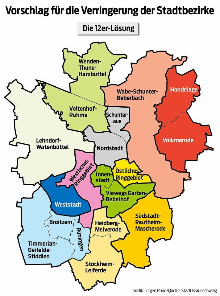 So könnten aus 19 Stadtbezirken 12 werden.