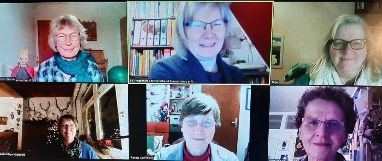 Vorbereitung per Videokonferenz – mit dabei sind Gerlinde Melcher, Simone Gellrich, Theda Elsen (obere Reihe von links), Anke Meyer-Gennrich, Renate Senftleben und Renate Leu (untere Reihe von links).