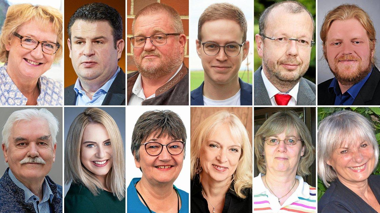 Das sind die Bundestagskandidaten im Wahlkreis Gifhorn-Peine – oben von links: Ingrid Pahlmann (CDU), Hubertus Heil (SPD), Thomas Schellhorn (FDP), Henrik Werner (Grüne), Stefan Marzischewski-Drewes (AfD, Andreas Mantzke (Die Linke); unten von links: Wolfgang Gemba (Freie Wähler), Nadine Schladebeck (LKR), Angela Kunick (Internationalistisches Bündnis), Marika Orend (Tierschutzpartei), Ute Vibeke Neumann (Frieden) und Marita Draheim (Die Basis).
